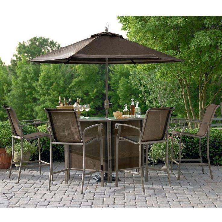 Patio Table Sets With Umbrellas Regarding Famous Patio: Glamorous Bistro Set With Umbrella Bistro Umbrella 6', Bistro (View 11 of 15)
