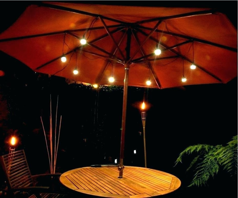 Patio Umbrella Lights Pertaining To Most Up To Date Interior (View 5 of 15)