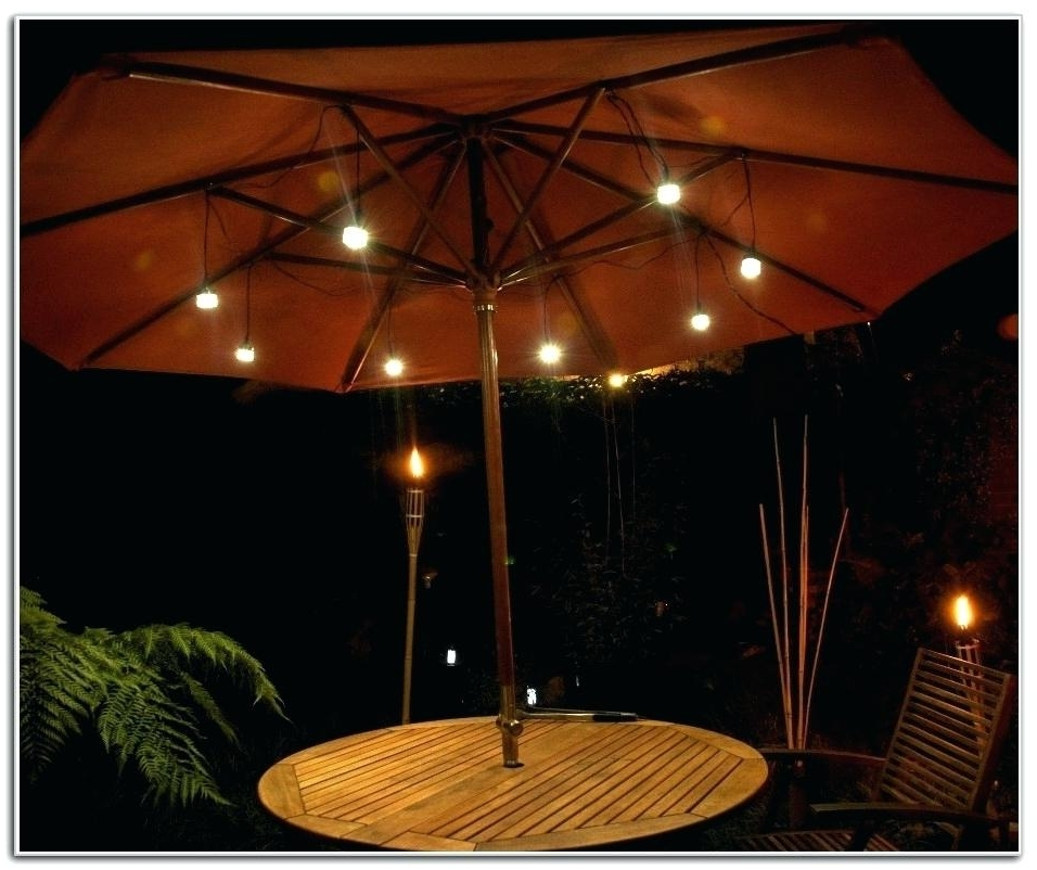 Patio Umbrella Lights Pertaining To Trendy Patio Umbrella Lights 9 Aluminum Auto Tilt Patio Umbrella With Led (View 6 of 15)