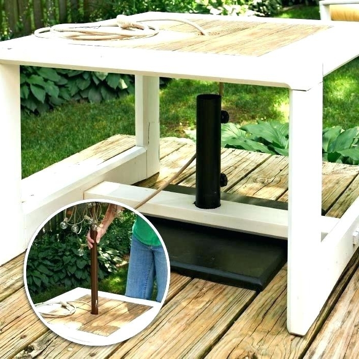 Patio Umbrella Side Tables With Regard To Most Current Umbrella Side Table Outdoor Umbrella Side Table Get Even More Use (View 13 of 15)