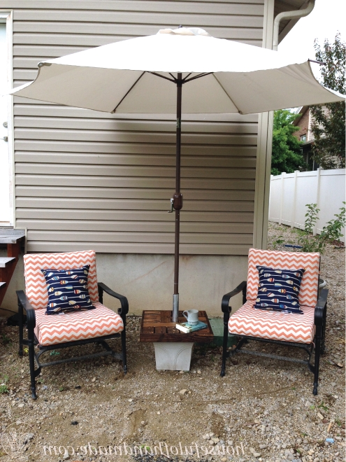 Patio Umbrella Stand Side Tables With Regard To Recent Make Your Own Umbrella Stand Side Table – Houseful Of Handmade (View 2 of 15)