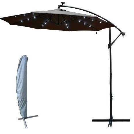 Patio Umbrella With Led Lights Flowy Patio Umbrella With Solar Led Throughout Favorite Patio Umbrellas With Solar Led Lights (View 11 of 15)