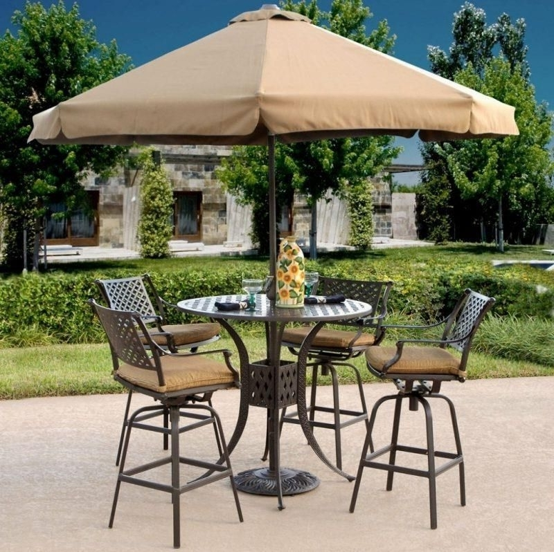 Patio Umbrellas For Bar Height Tables With Regard To Popular Outdoor Brown Classic Stained Steel Bistro Set With Patio Umbrella (View 9 of 15)