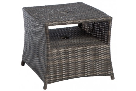"""Patio Umbrellas With Accent Table Regarding 2018 Everwoven 24"""" Square Side Table With Umbrella Hole – Accent Tables (View 7 of 15)"""