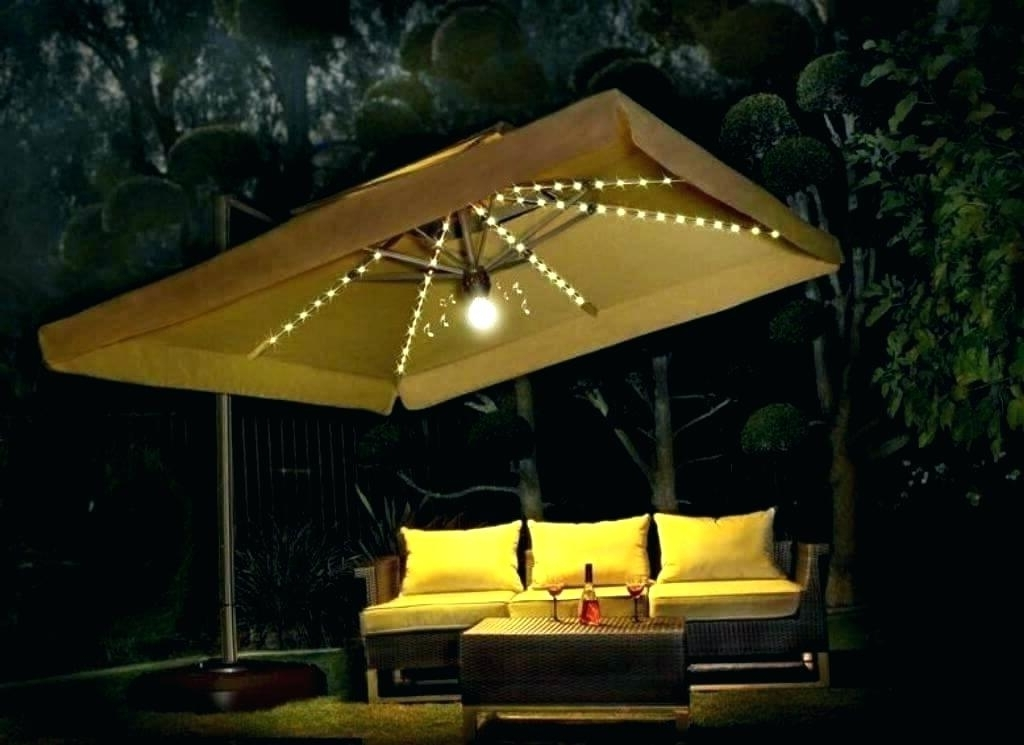 Patio Umbrellas With Led Lights Inside Well Liked Outdoor Patio Umbrellas With Lights Outdoor Umbrella Lights Best Of (View 6 of 15)