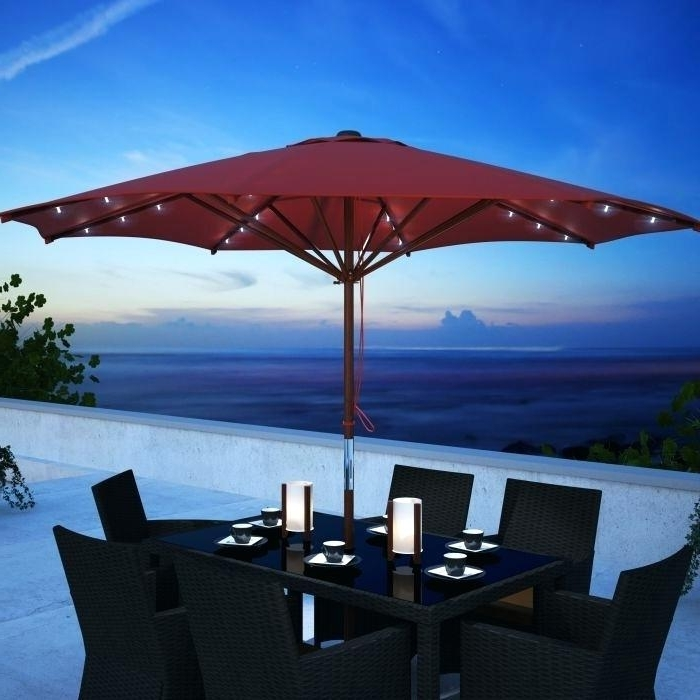 Patio Umbrellas With Led Lights Intended For Best And Newest Patio Umbrellas With Lights Solar Powered Patio Umbrella Shade (View 7 of 15)