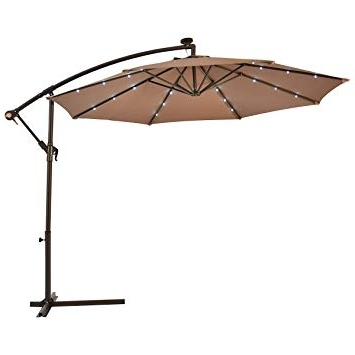 Patio Umbrellas With Solar Led Lights For Best And Newest Amazon : Patio Umbrella 10' Hanging Solar Led Sun Shade Offset (View 4 of 15)