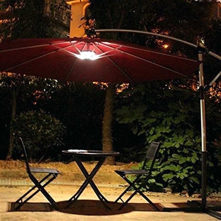 Patio Umbrellas With Solar Led Lights For Recent Patio Umbrella Lights Adorable Patio Umbrella With Led Lights Type (View 10 of 15)