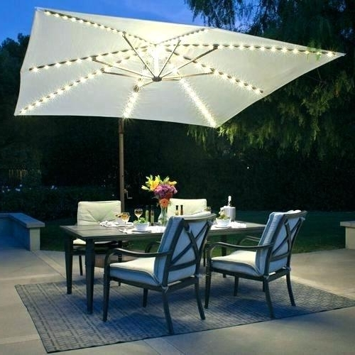 Patio Umbrellas With Solar Lights Inside Well Known Solar Offset Umbrella Of Umbrella With Solar Lights Best Cantilever (View 14 of 15)