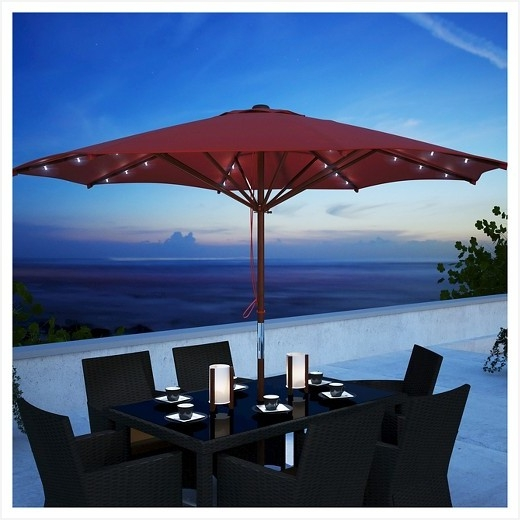 Patio Umbrellas With Solar Powered Lights Effectively » Elysee Magazine Pertaining To 2017 Patio Umbrellas With Solar Led Lights (View 14 of 15)