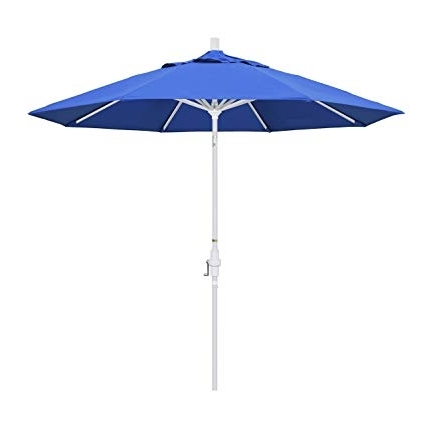 Patio Umbrellas With White Pole In Most Up To Date Amazon : California Umbrella 9' Round Aluminum Market Umbrella (View 10 of 15)