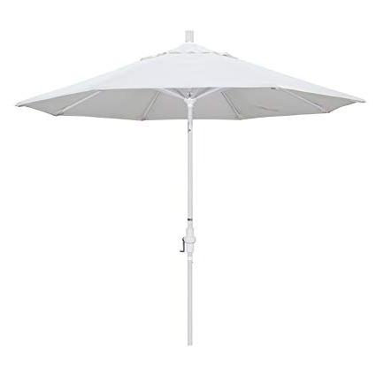 Patio Umbrellas With White Pole Within Fashionable Amazon : California Umbrella 9' Round Aluminum Market Umbrella (View 12 of 15)