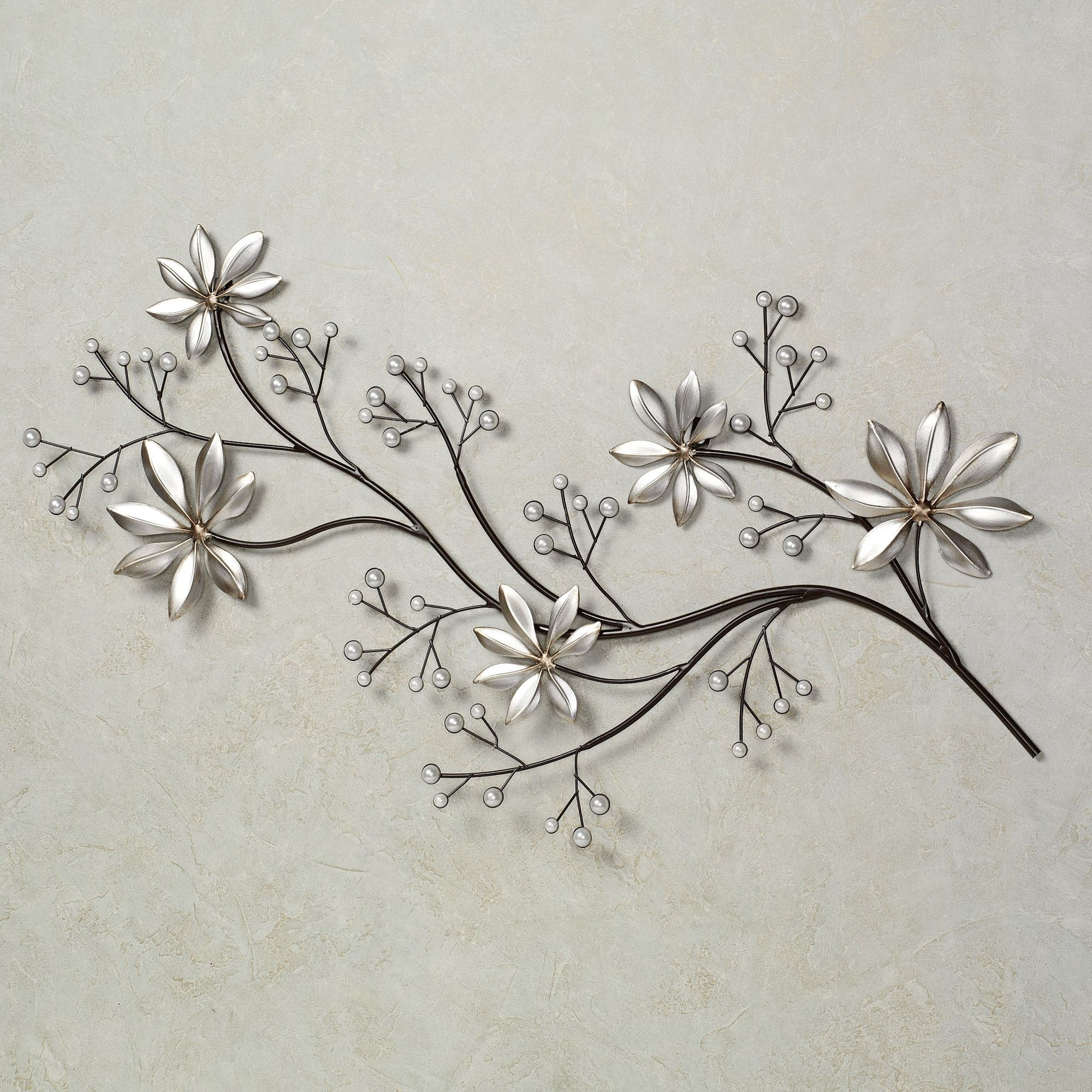 Pearl Array Floral Metal Wall Art With Famous Floral Wall Art (View 4 of 15)