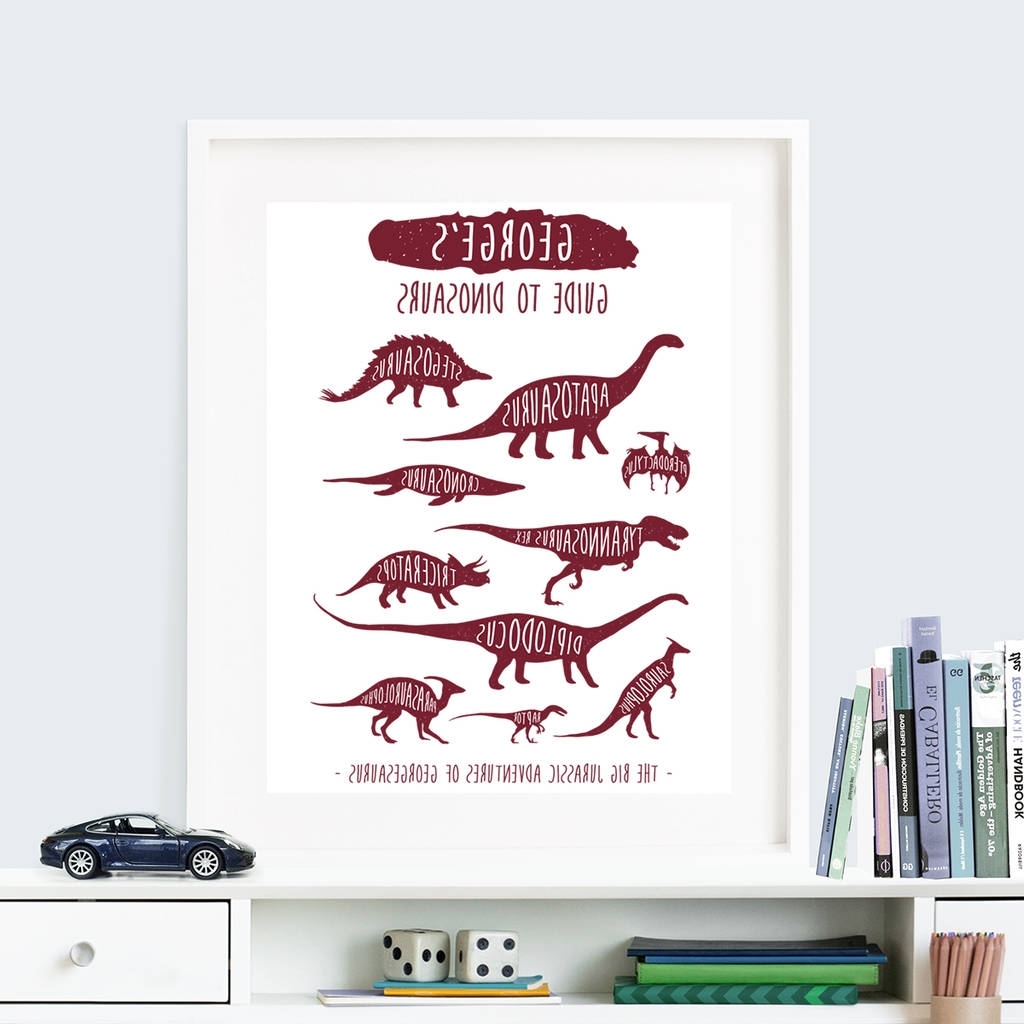 Personalised 'guide To Dinosaurs' Wall Art Printthe Little regarding Newest Dinosaur Wall Art