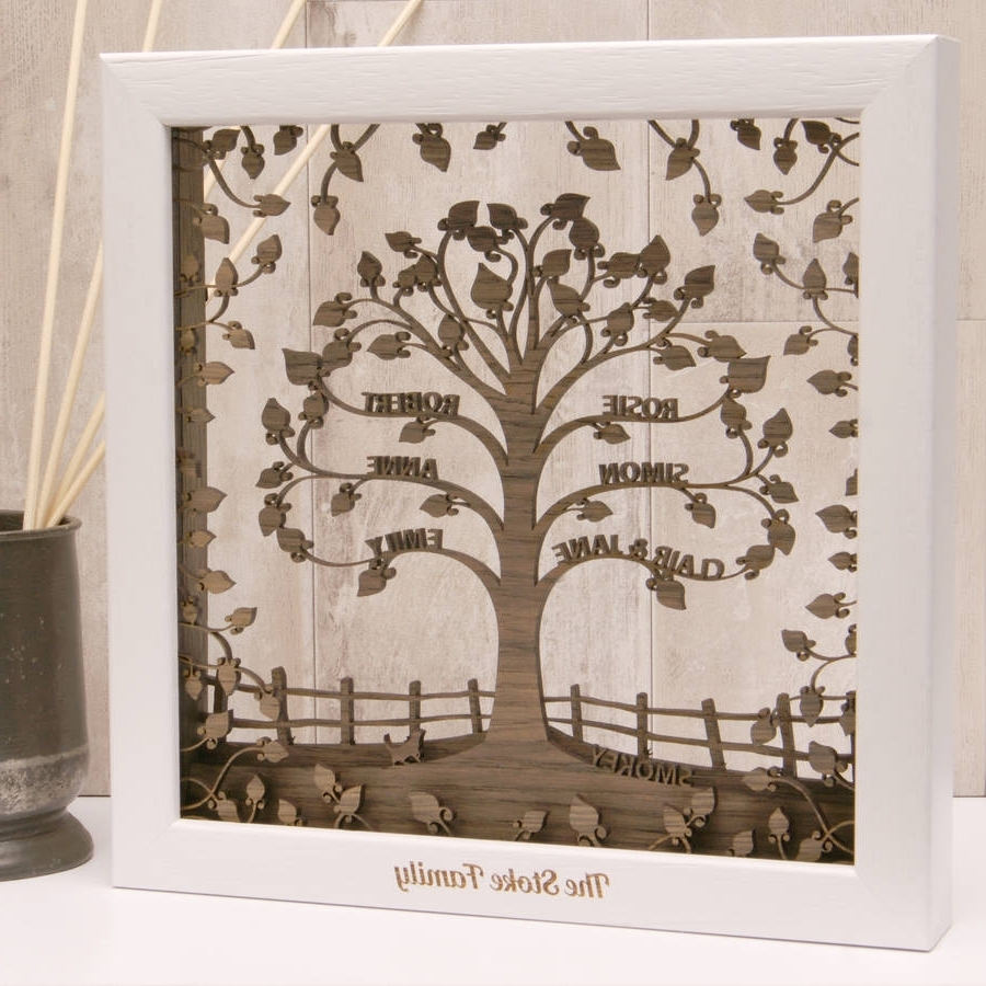 Personalised Wooden 3D Traditional Family Tree Wall Arturban Inside Current Family Tree Wall Art (View 12 of 15)