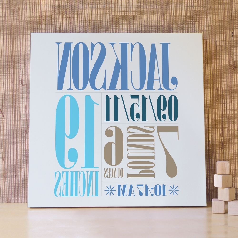 Personalized Wall Art Regarding Most Popular Custom Birth Wall Art – The Perfect Way To Customize The Baby's Room (View 9 of 15)