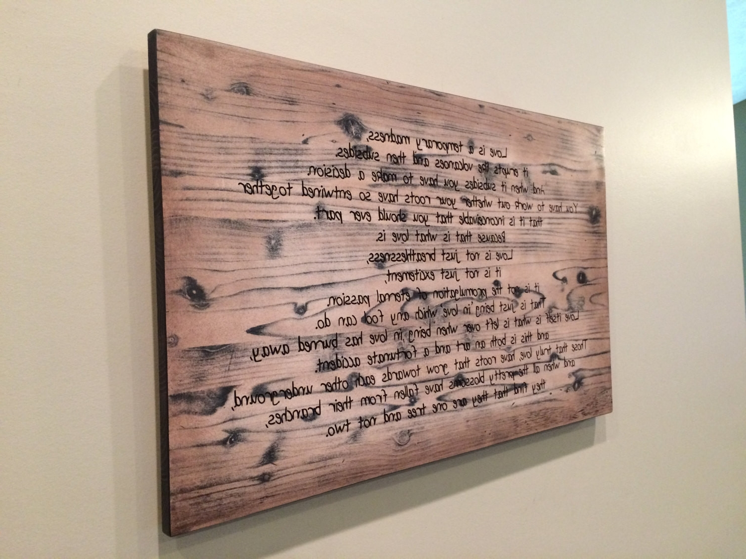Personalized Wood Wall Art Within Trendy Personalized Wood Wall Art Wedding Vow Sign Idea Custom Quote (View 2 of 15)