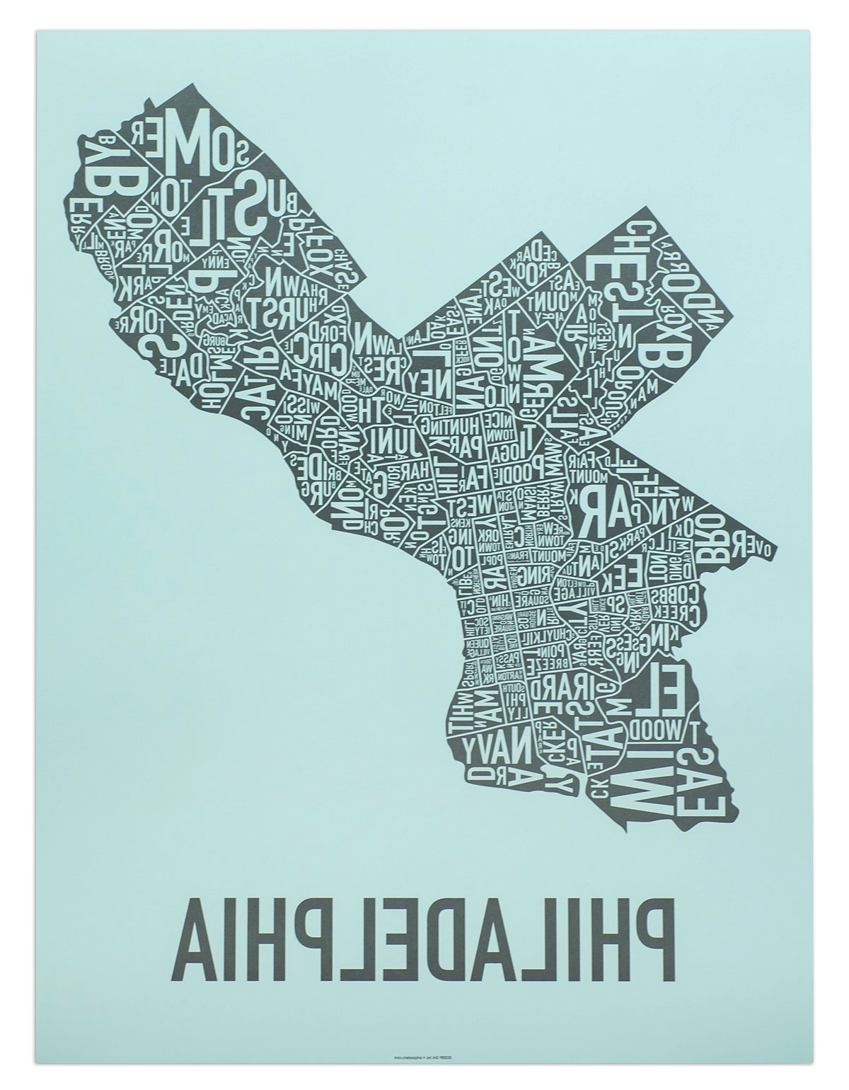 """Philadelphia Map Wall Art Intended For Recent Philadelphia Neighborhood Map 18"""" X 24"""" On The Streets Of Poster (View 9 of 15)"""