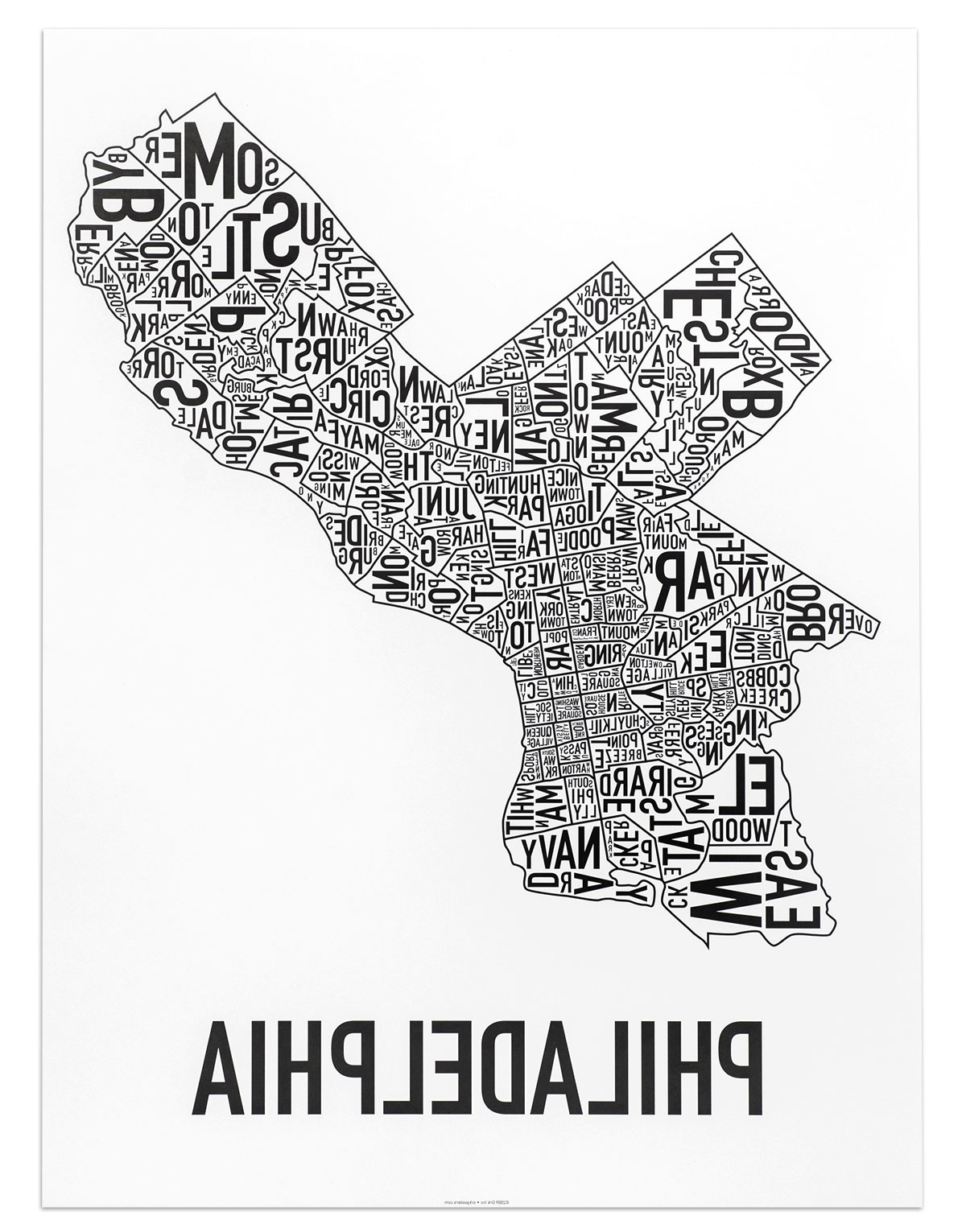 """Philadelphia Neighborhood Map 18"""" X 24"""" Classic Black & White Poster Intended For Well Known Philadelphia Map Wall Art (View 11 of 15)"""