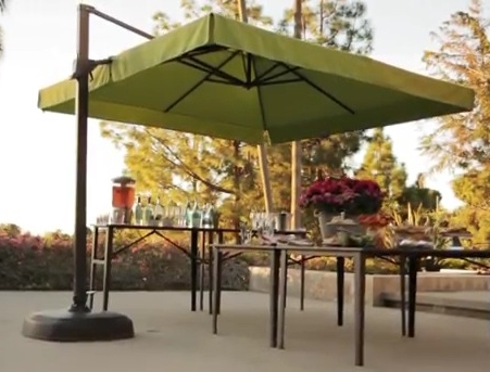 Photo Of Square Offset Patio Umbrella Up330Table Residence Remodel Intended For Most Recently Released Square Patio Umbrellas (View 7 of 15)