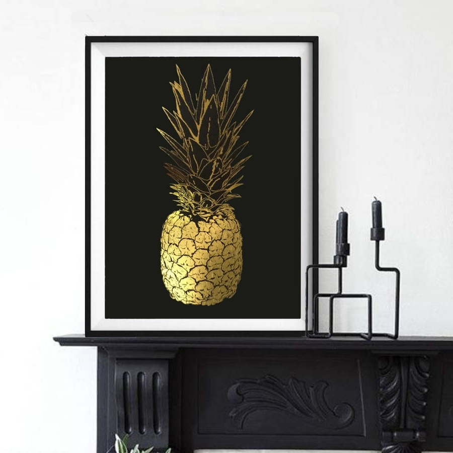 Pineapple, Gold Foil Framed Artpalm Valley (View 11 of 15)