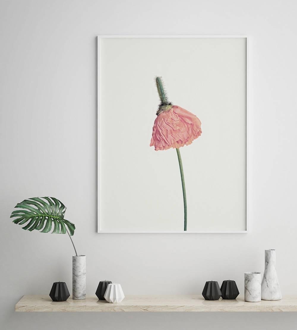 Pink Flower Print, Flower Wall Art, Scandinavian Print, Minimalist Pertaining To Well Liked Flower Wall Art (View 12 of 15)