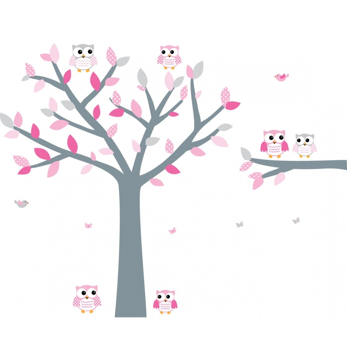 Pink Wall Art Intended For 2017 Pink And Gray Owl Wall Decor With Large Tree Decal For Girls (View 12 of 15)