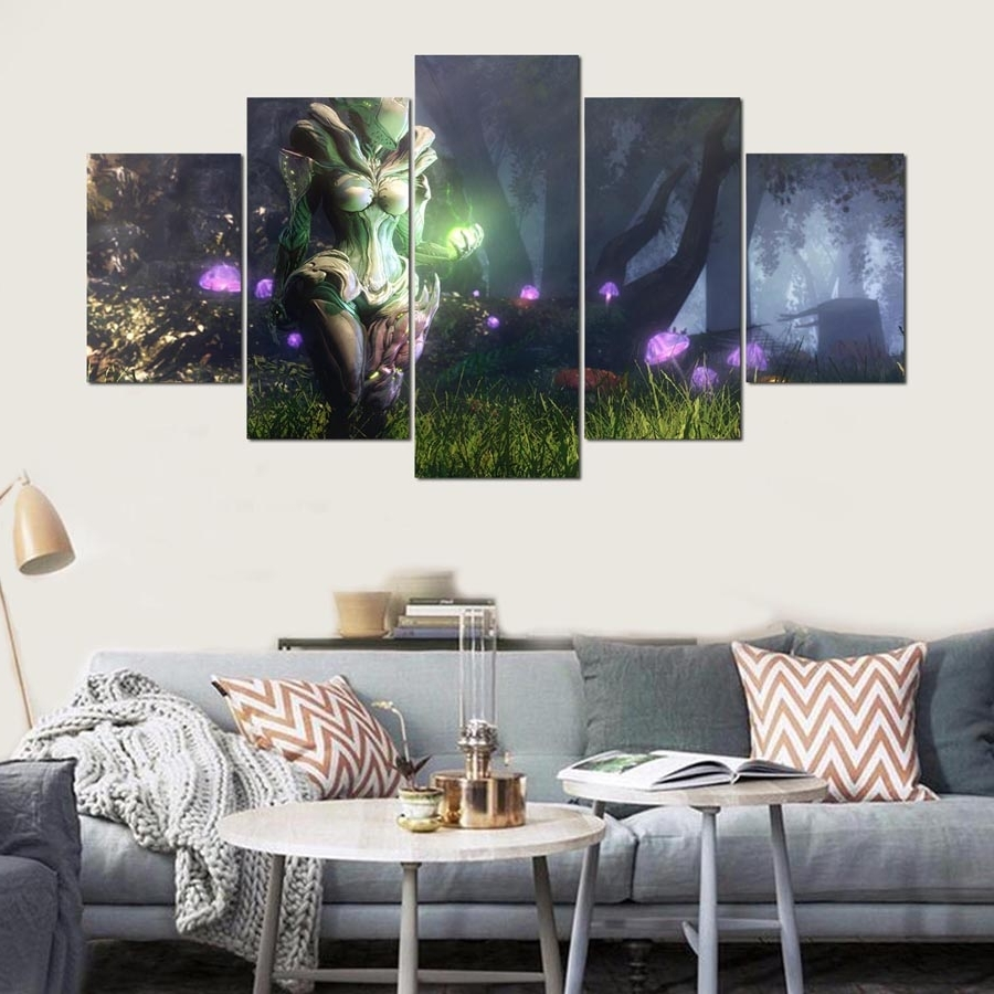 Popular 5 Pieces Wall Art Painting Warframe Home Decor Canvas Hd Printed With 5 Piece Wall Art (View 11 of 15)