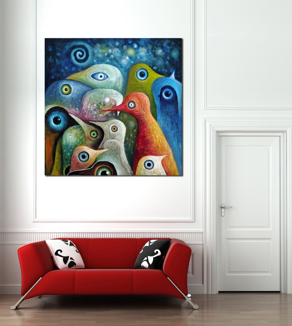 Popular Animal Multi Color Abstract Square Birds Painting Canvas Print For Bird Framed Canvas Wall Art (View 14 of 15)