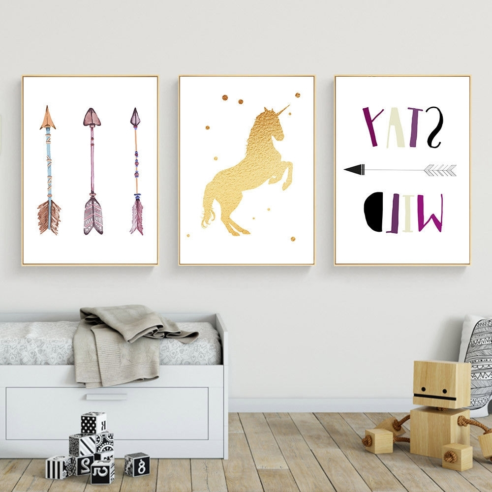 Popular Arrow Wall Art Within Unicorn Arrow Wall Art Canvas Poster Nursery Quote Prints Kids (View 14 of 15)