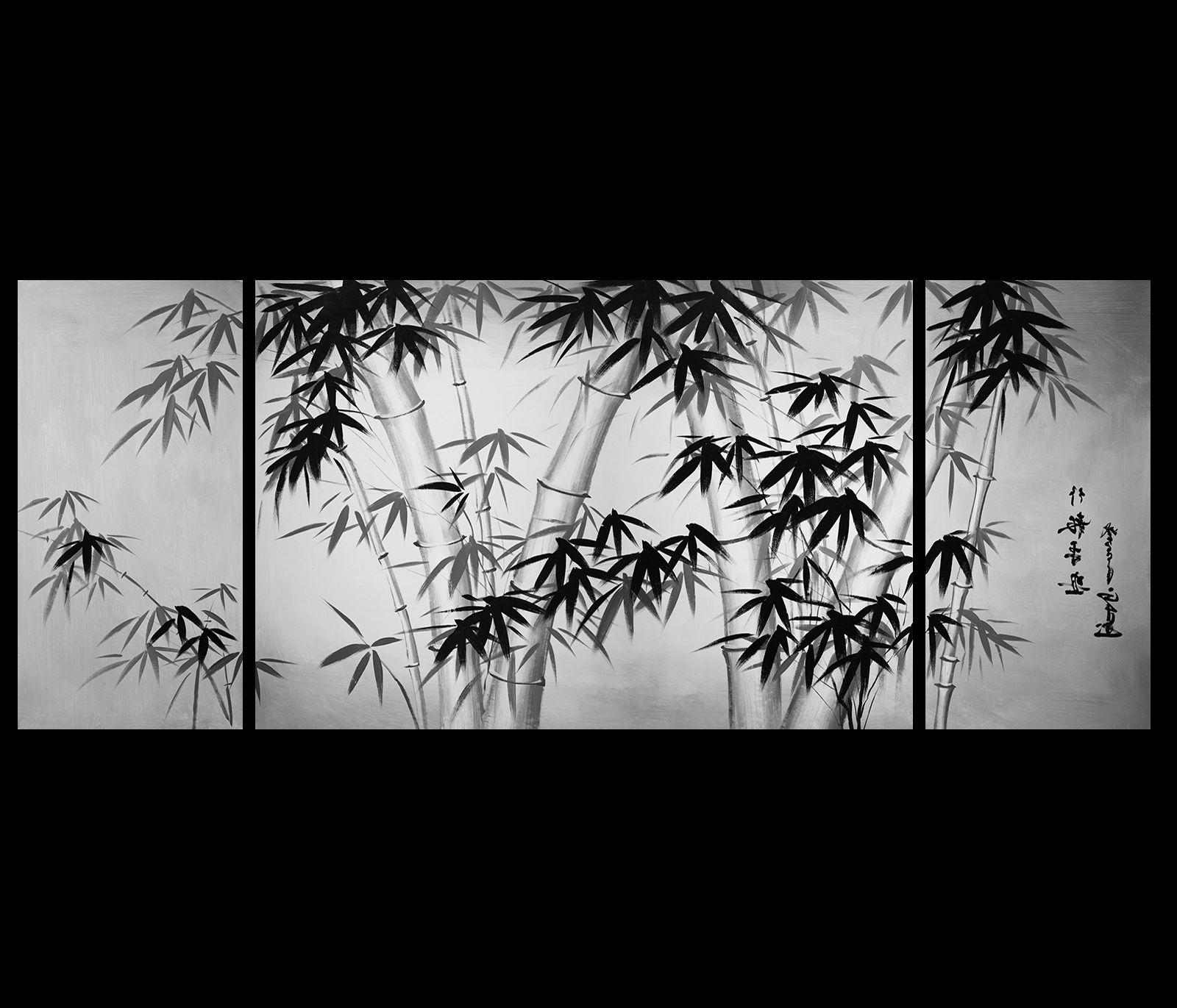 Popular Bamboo Painting Canvas Art Asian Bamboo Art Modern Wall Art Decor Inside Wall Art Paintings (View 7 of 15)