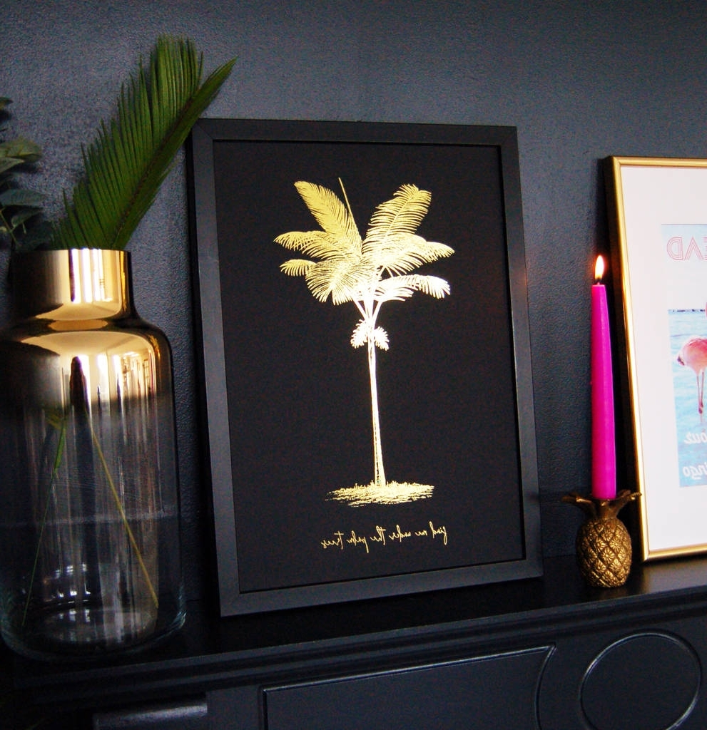 Popular Black And Gold Wall Art With Palm Tree Black Gold Travel Personalised Print Wall Artmade With (View 12 of 15)