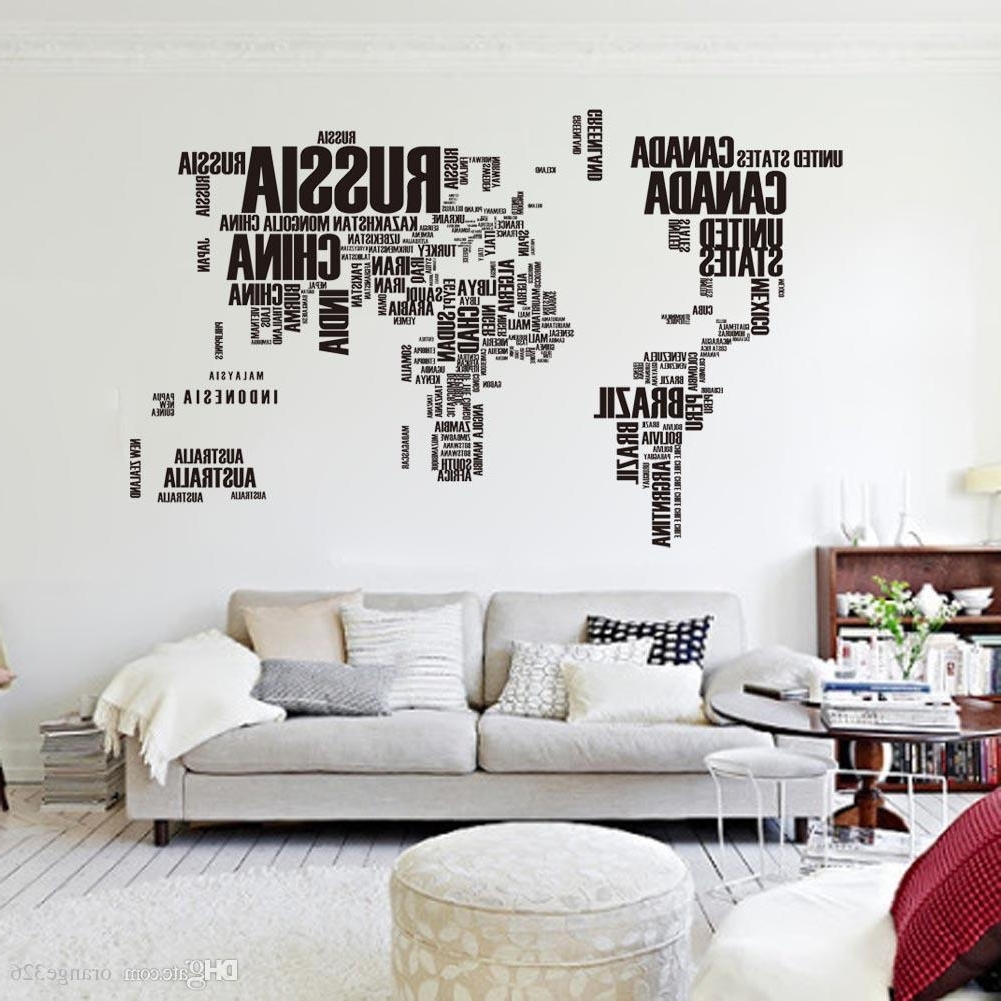 Popular Black Letters World Map Wall Stikers Office Living Room Decoration Within Stick On Wall Art (View 5 of 15)