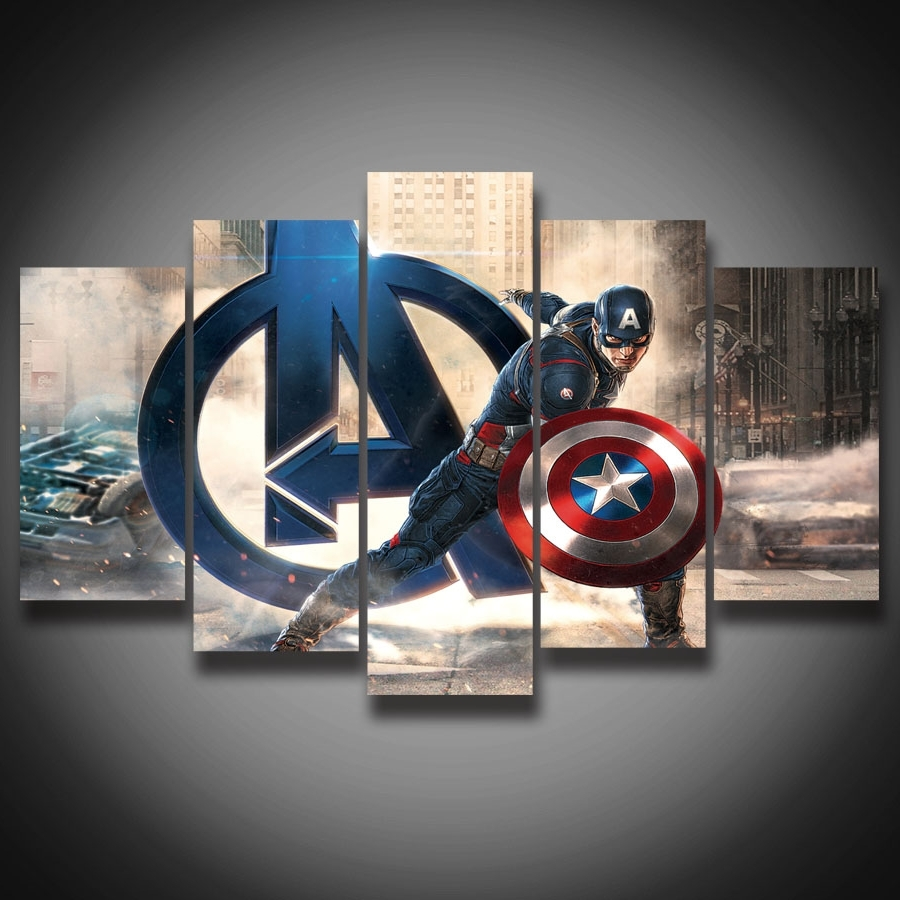 Popular Captain America Wall Art With Framed Hd Printed Movie Super Hero Avenger Captain America Painting (View 2 of 15)