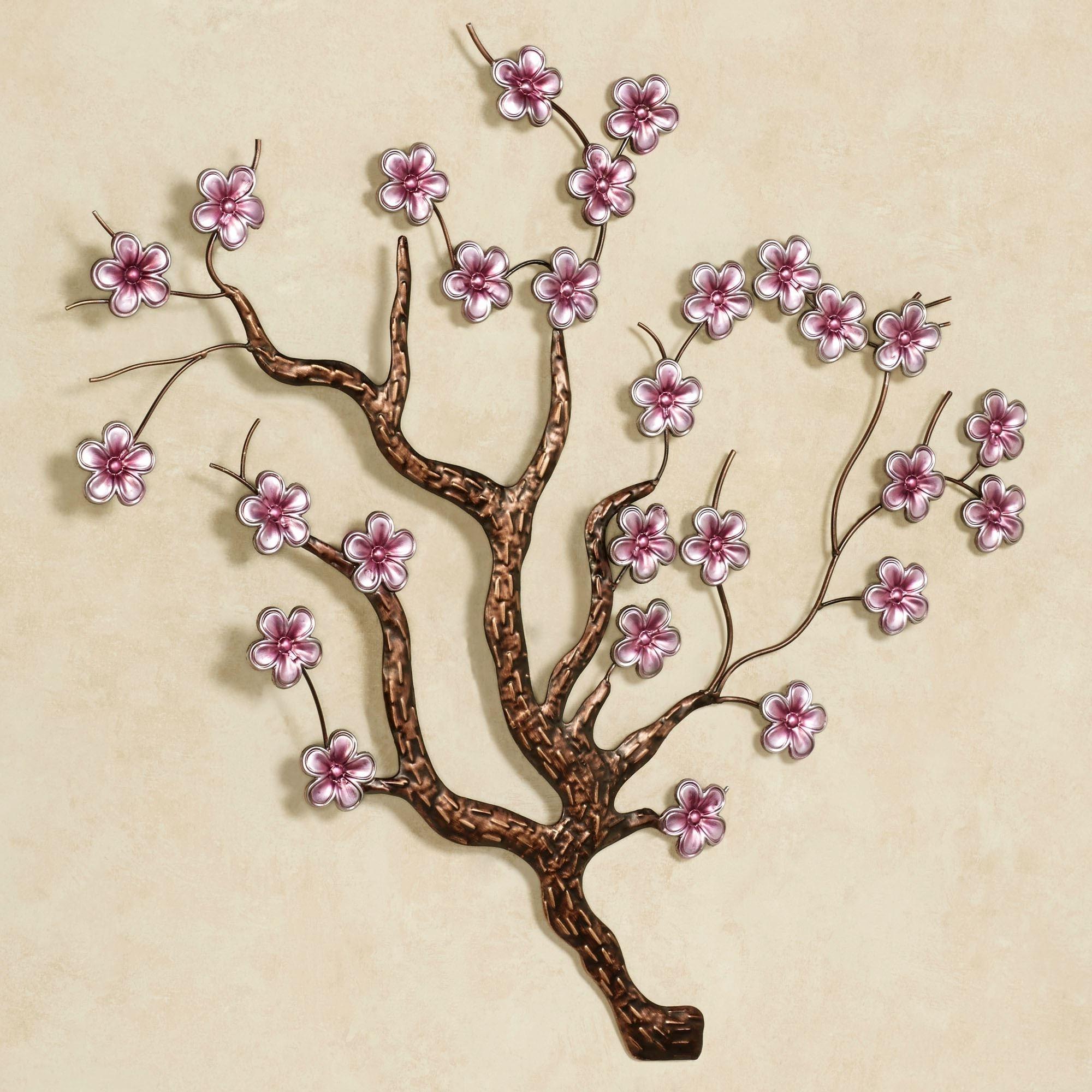 Popular Cherry Blossom Wall Art Inside Shimmering Cherry Blossoms Metal Wall Art (View 11 of 15)