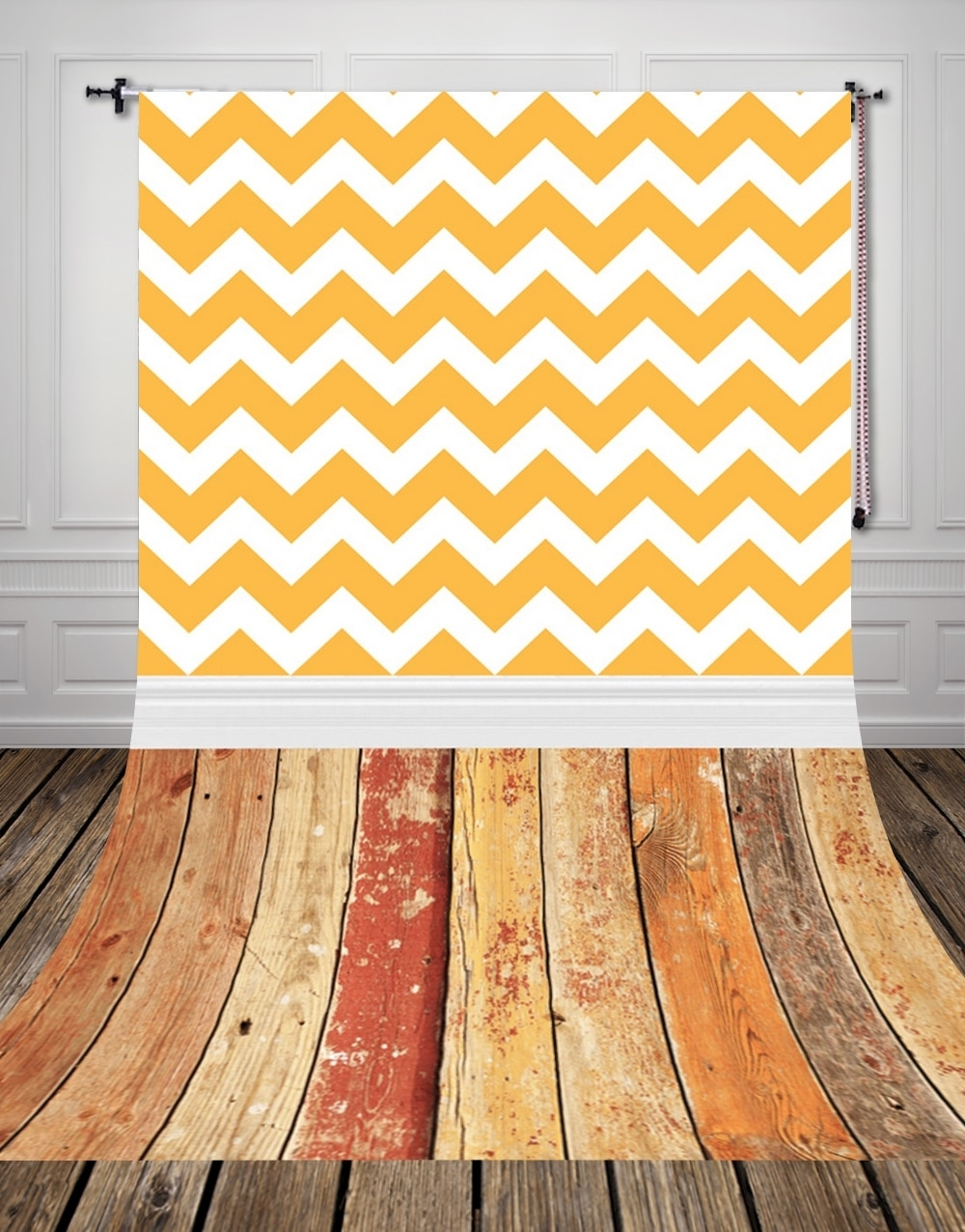 Popular Chevron Wall Art With Huayi Vintage Wood Floor Backdrop Vintage Yellow Chevron Wall Art (View 10 of 15)