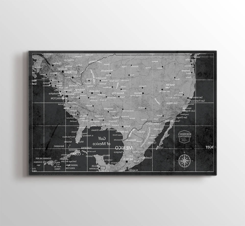 Popular Chicago Map Wall Art In Usa Map Wall Art, Push Pin Us Map Art Canvas Print, Personalized Usa (View 14 of 15)