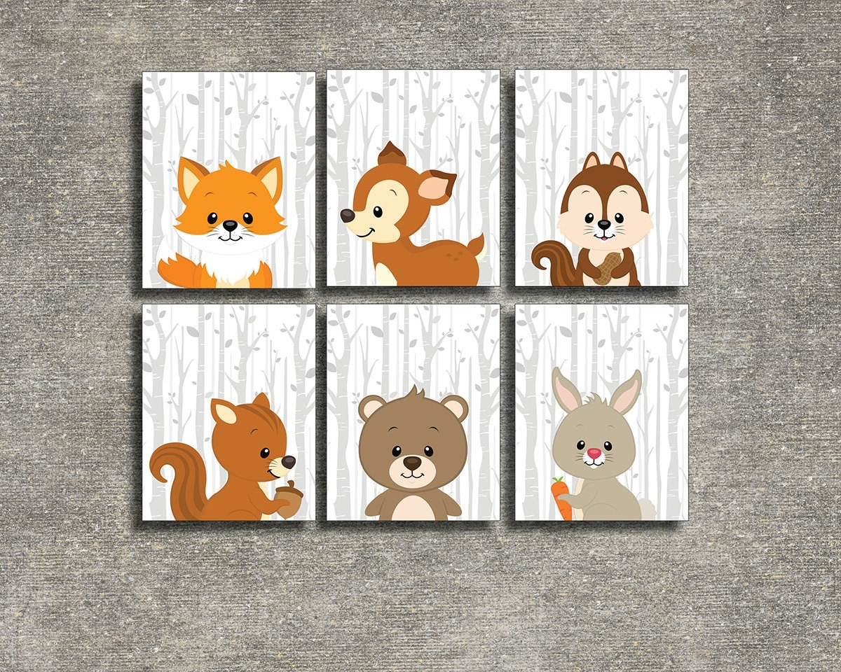 Popular Colorful Cloud Studio — Woodland Animals Set Of 6 – Printable With Woodland Nursery Wall Art (View 6 of 15)