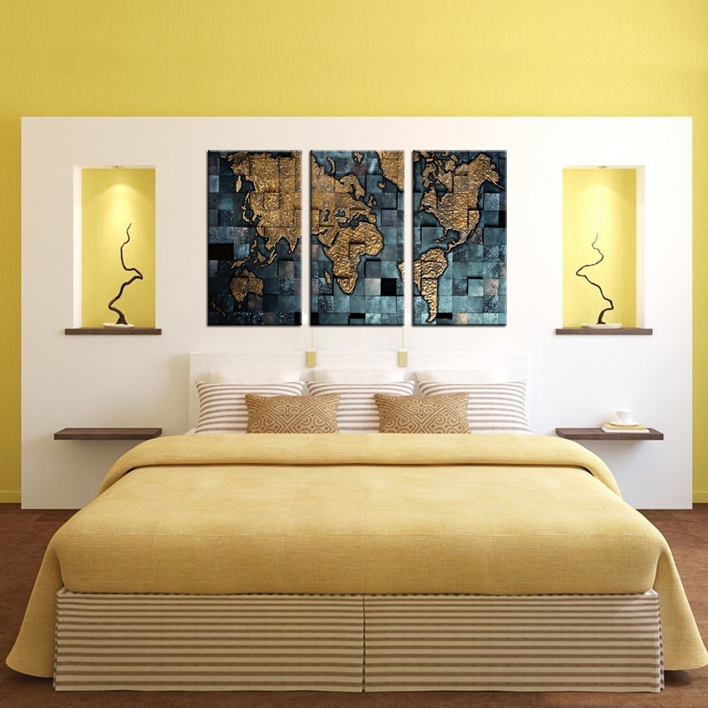 Popular Contemporary Wall Art Within 3 Panel Wall Art World Map Poster Office Decor Contemporary Wall (View 12 of 15)