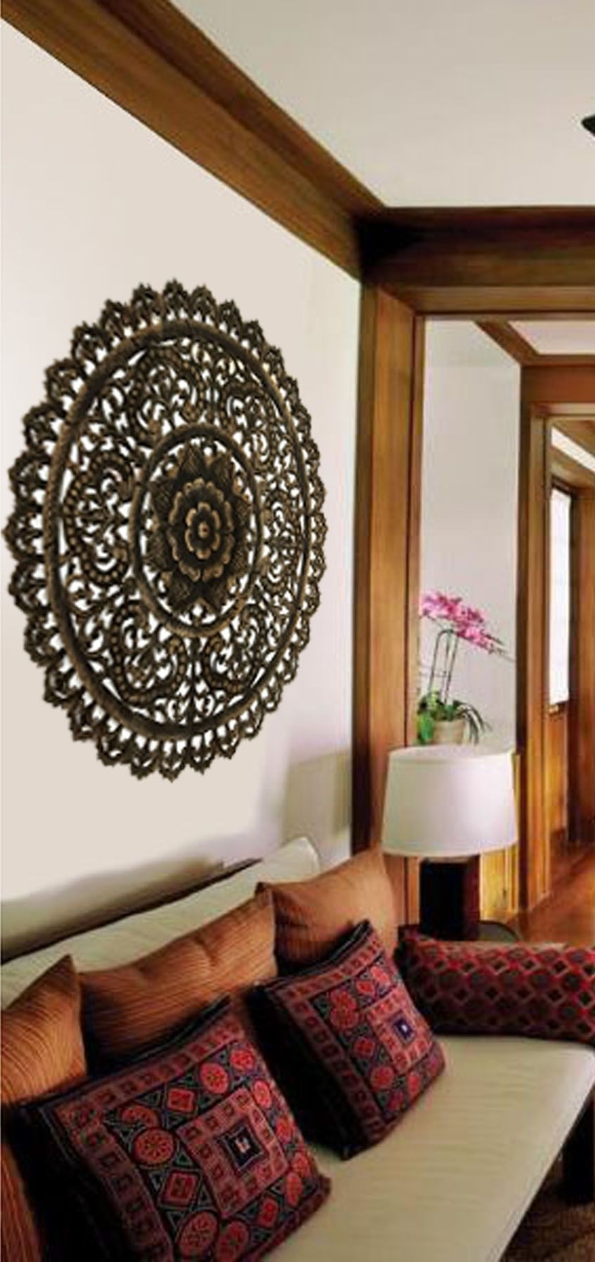 Popular Elegant Medallion Wood Carved Wall Plaque (View 8 of 15)