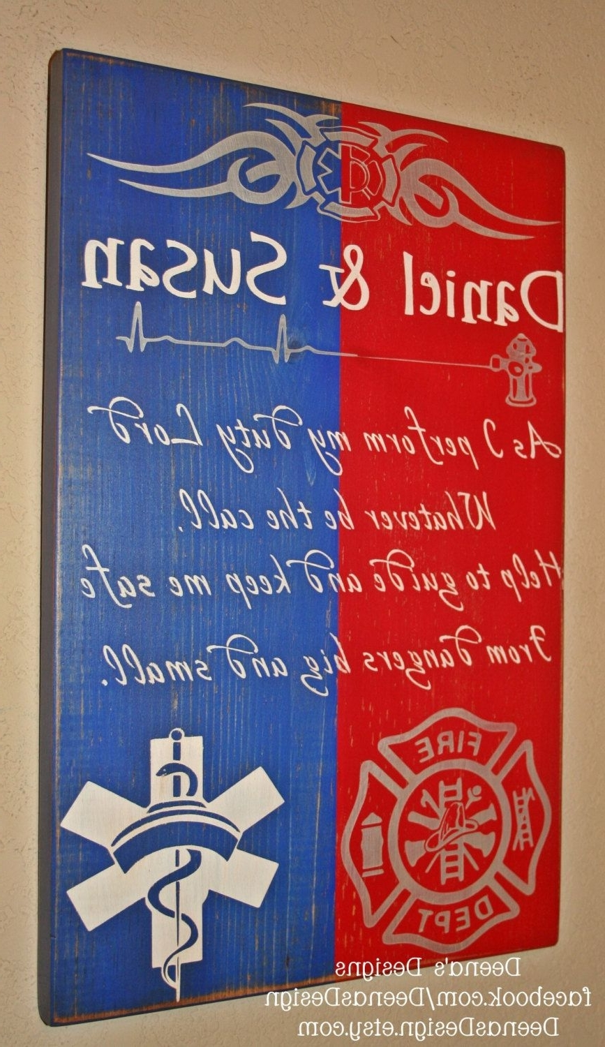 Popular Firefighter Wall Art Within Firefighter/nurse Hybrid Wall Art, Firefighter/ Nurse Decor (View 11 of 15)