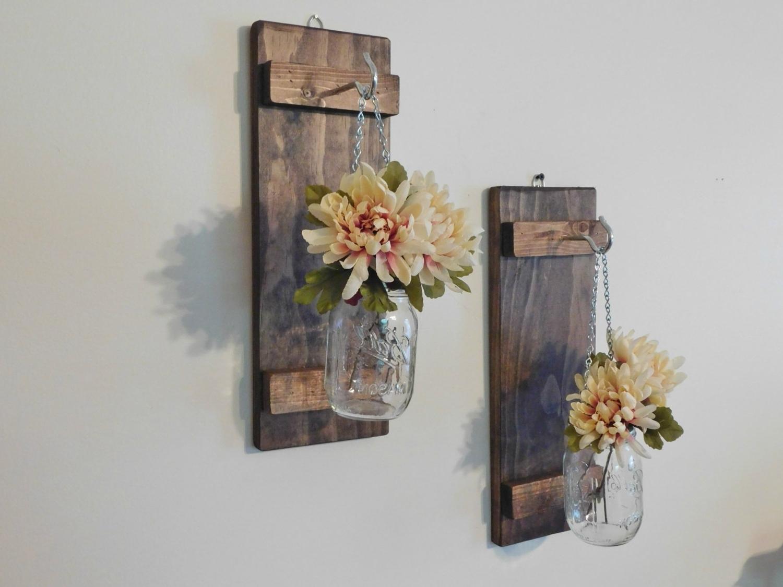 Popular Hanging Mason Jar Wall Sconce Flower Vase Candle Sconce Wall, Mason Pertaining To Mason Jar Wall Art (View 5 of 15)