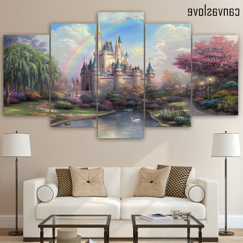 Popular Hd Printed 5 Piece Canvas Art Cinderellas Castle Painting Wall Art With 5 Piece Wall Art (View 12 of 15)