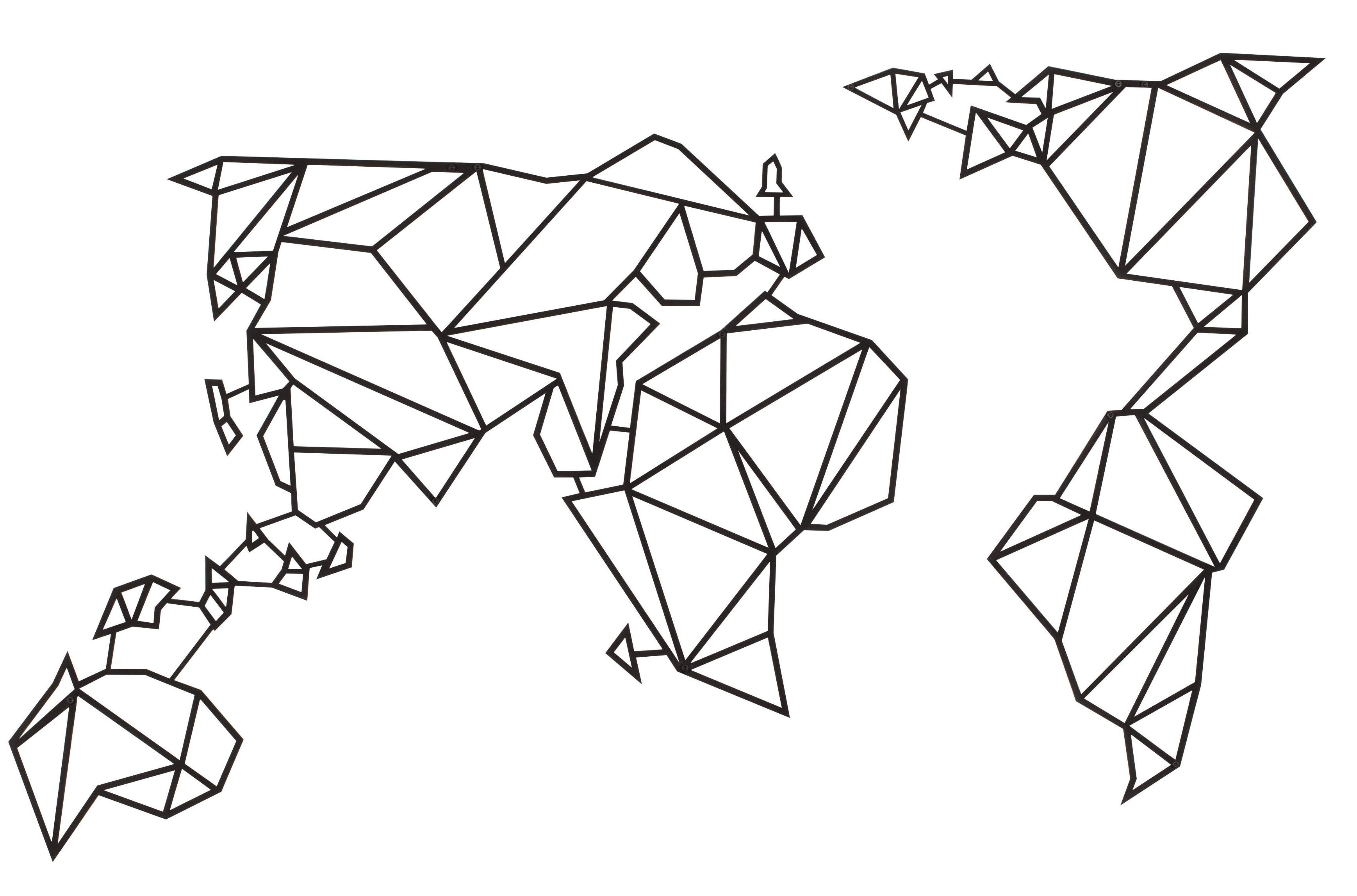 Popular Hokku Designs World Map Geometric Metal Wall Décor (View 11 of 15)