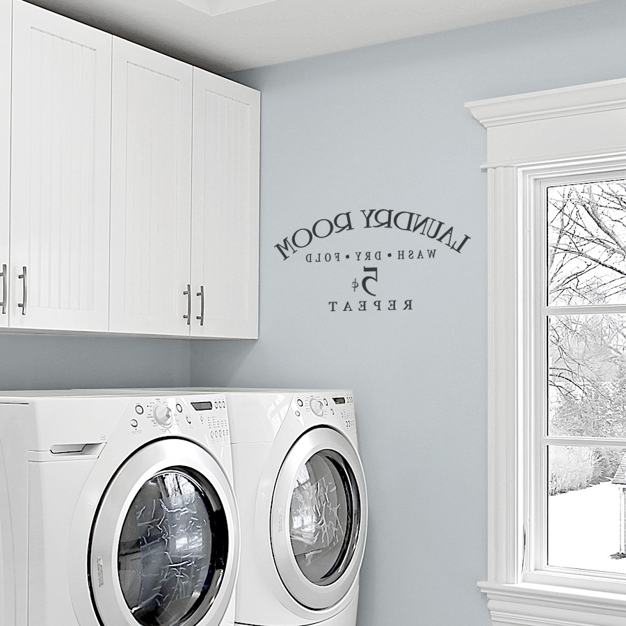 Popular Laundry Room Wall Art Throughout Laundry Room Wash Dry Fold Repeat Wall Decals (View 12 of 15)
