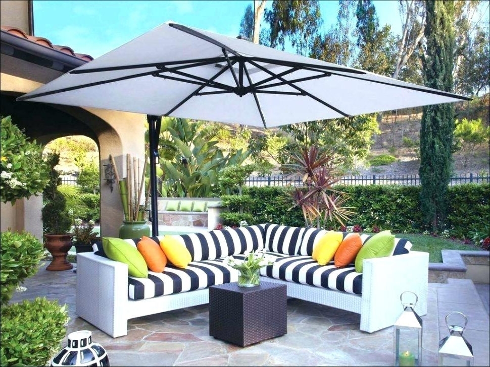 Popular Lowes Cantilever Patio Umbrellas With Lowes Umbrella Stand Backyard Umbrella Large Size Of Home Depot (View 9 of 15)