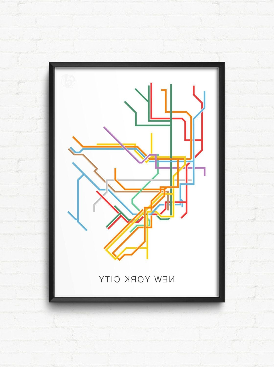 Popular New York Subway Map Wall Art intended for New York City Print Of Nyc Subway Map - City Transit Map Poster, Nyc