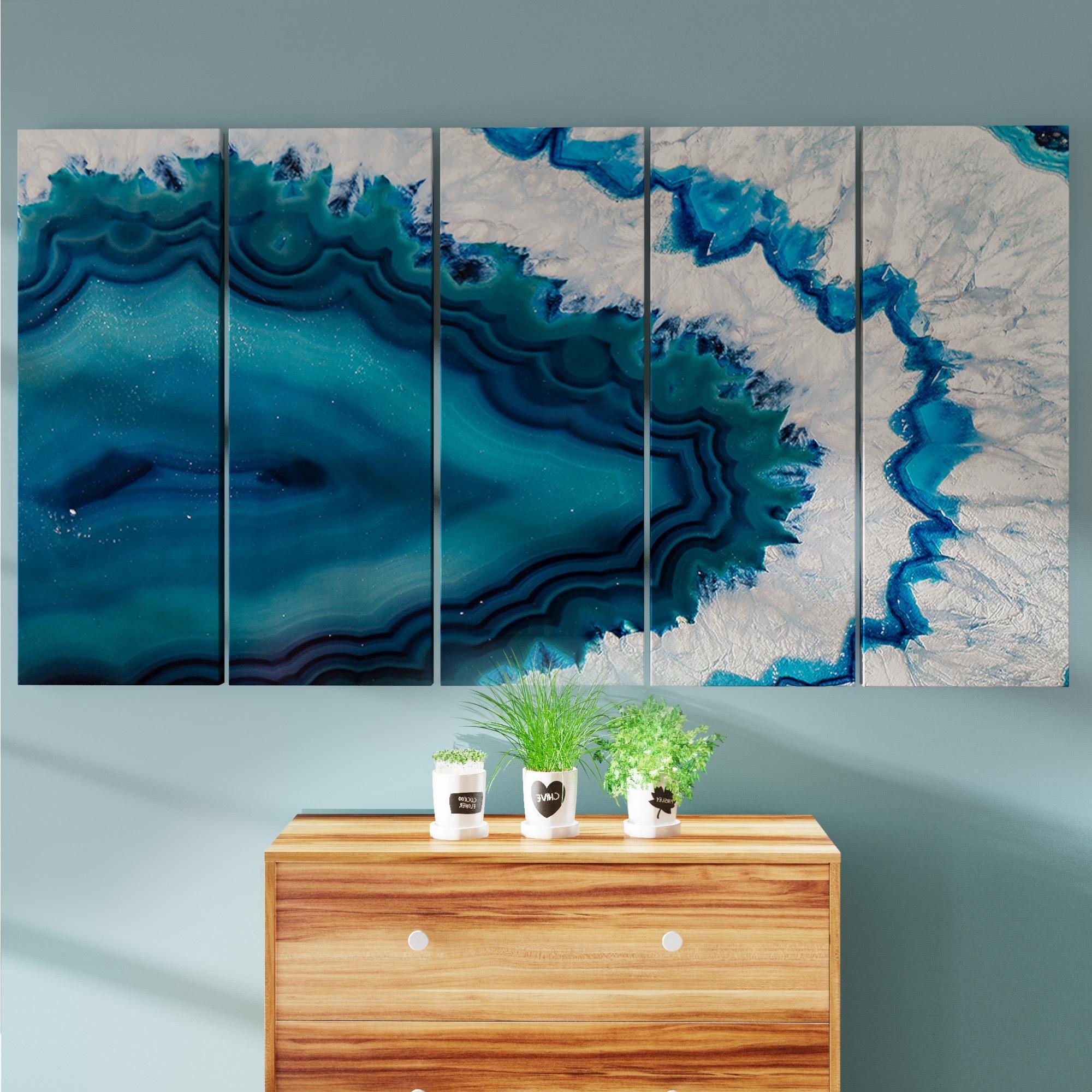 Popular Overstock Wall Art Throughout Shop Porch & Den Blue Brazilian Geode' Abstract Canvas Wall Art (View 7 of 15)