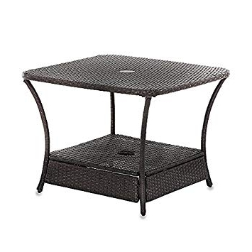 Popular Patio Umbrella Stand Side Tables With Regard To Umbrella Stand Side Table Base In Wicker For Patio Furniture Outdoor (View 3 of 15)