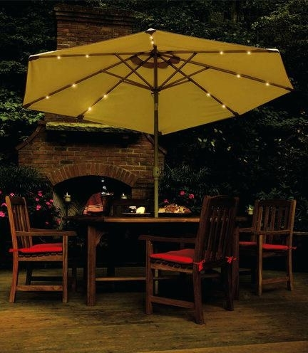 Popular Patio Umbrellas With Solar Led Lights Regarding Beautiful Patio Umbrella With Led Lights For Incredible Patio (View 13 of 15)